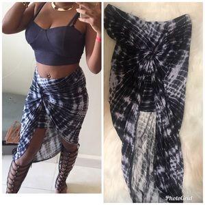 Tie dye blue asymmetrical skirt medium